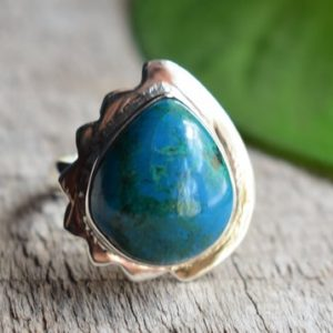 Shop Chrysocolla Rings! 925 silver chrysocolla ring,chrysocolla ring,natural chrysocolla ring,natural chrysocolla ring | Natural genuine Chrysocolla rings, simple unique handcrafted gemstone rings. #rings #jewelry #shopping #gift #handmade #fashion #style #affiliate #ad