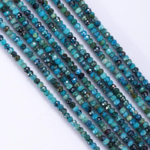 """Shop Chrysocolla Rondelle Beads! Chrysocolla Beads Strand, Chrysocolla Natural AAA Quality Gemstone 15"""" Bead Strand, Chrysocolla Rondelle Shape 4mm Beads 