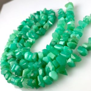 Shop Chrysoprase Beads! Chrysoprase faceted chips | Natural genuine beads Chrysoprase beads for beading and jewelry making.  #jewelry #beads #beadedjewelry #diyjewelry #jewelrymaking #beadstore #beading #affiliate #ad