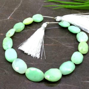 Shop Chrysoprase Faceted Beads! Natural Chrysoprase 14-18.5mm Faceted Oval Gemstone Beads / Approx 15 Pieces on 9 Inch Long Strand / JBC-ET-155156 | Natural genuine faceted Chrysoprase beads for beading and jewelry making.  #jewelry #beads #beadedjewelry #diyjewelry #jewelrymaking #beadstore #beading #affiliate #ad