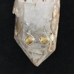 Shop Citrine Earrings! All Natural, Untreated Beauty! 8x8mm Faceted Natural Citrine Dangle Earrings | Natural genuine Citrine earrings. Buy crystal jewelry, handmade handcrafted artisan jewelry for women.  Unique handmade gift ideas. #jewelry #beadedearrings #beadedjewelry #gift #shopping #handmadejewelry #fashion #style #product #earrings #affiliate #ad
