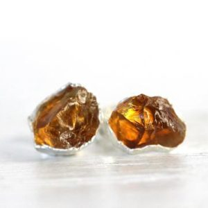 Shop Citrine Earrings! Citrine Earrings – Rough Crystal Studs – November Birthstone Earrings – Raw Crystal Studs – Sterling Silver Post Earrings | Natural genuine Citrine earrings. Buy crystal jewelry, handmade handcrafted artisan jewelry for women.  Unique handmade gift ideas. #jewelry #beadedearrings #beadedjewelry #gift #shopping #handmadejewelry #fashion #style #product #earrings #affiliate #ad