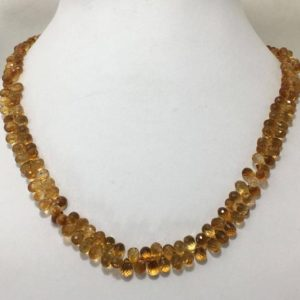 "Shop Citrine Bead Shapes! AAA Quality 145 Carat Natural Citrine Side Drill Drops 3×5 to 5×8 mm 17"" Necklace/Gemstone Beads/Semi Precious Beads 