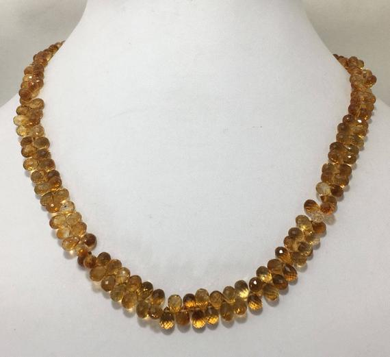"""Aaa Quality Natural Citrine Side Drill Drops 3x5 To 5x8 Mm 17"""" Gemstone Beaded Necklace / Semi Precious Beads / Citrine Drops / Citrine Necklace"""