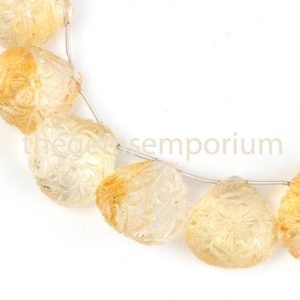 Shop Citrine Bead Shapes! Extremely Rare Flower Carving Citrine Heart shape Beads, Citrine Carving Heart Shape Beads, Citrine Heart Shape Carving Beads, Citrine Fancy | Natural genuine other-shape Citrine beads for beading and jewelry making.  #jewelry #beads #beadedjewelry #diyjewelry #jewelrymaking #beadstore #beading #affiliate #ad