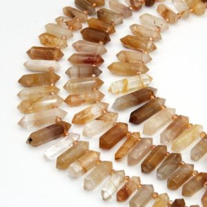 Natural Citrine Beads,Double Obelisk Large Citrine Crystals Quartz Point Beads,Healing Crystals,Top Drilled Hole Crystals Gemstone Beads. | Natural genuine other-shape Citrine beads for beading and jewelry making.  #jewelry #beads #beadedjewelry #diyjewelry #jewelrymaking #beadstore #beading #affiliate #ad