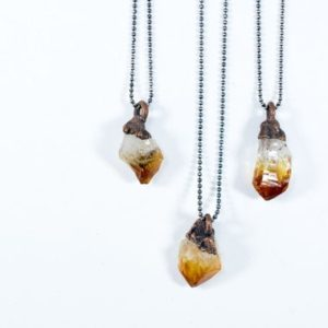 Raw citrine necklace | Citrine necklace | Crystal pendant on copper chain | Rough citrine crystal | Natural genuine Gemstone pendants. Buy crystal jewelry, handmade handcrafted artisan jewelry for women.  Unique handmade gift ideas. #jewelry #beadedpendants #beadedjewelry #gift #shopping #handmadejewelry #fashion #style #product #pendants #affiliate #ad