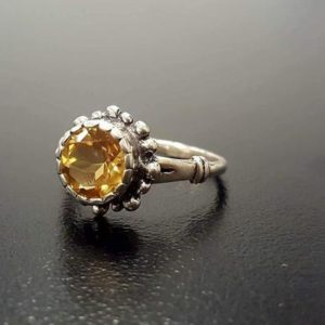 Shop Citrine Rings! Citrine Ring, Natural Citrine Ring, November Birthstone, Yellow Vintage Ring, Yellow Rings, November Ring, Round Ring, Silver Ring, Citrine | Natural genuine Citrine rings, simple unique handcrafted gemstone rings. #rings #jewelry #shopping #gift #handmade #fashion #style #affiliate #ad