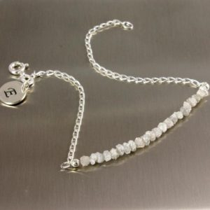 Shop Diamond Bracelets! White Rough Diamond Bracelet Sterling Silver – 2 inch Long Diamonds – Initial Disk, Personalized Tag – Silver Initial Bracelet, Monogram | Natural genuine Diamond bracelets. Buy crystal jewelry, handmade handcrafted artisan jewelry for women.  Unique handmade gift ideas. #jewelry #beadedbracelets #beadedjewelry #gift #shopping #handmadejewelry #fashion #style #product #bracelets #affiliate #ad