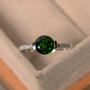 Shop Diopside Rings! Chrome diopside ring, natural green gemstone, sterling silver, round cut, ring size 4, promise ring for her | Natural genuine Diopside rings, simple unique handcrafted gemstone rings. #rings #jewelry #shopping #gift #handmade #fashion #style #affiliate #ad