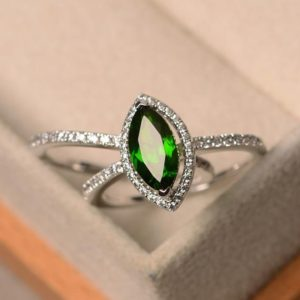 Shop Diopside Rings! Natural diopside ring, marquise cut green gemstone, sterling silver ring, halo ring, promising ring for women | Natural genuine Diopside rings, simple unique handcrafted gemstone rings. #rings #jewelry #shopping #gift #handmade #fashion #style #affiliate #ad
