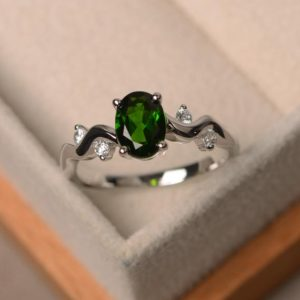 Shop Diopside Rings! Diopside ring,oval cut gemstone ring, sterling silver ring, promise ring | Natural genuine Diopside rings, simple unique handcrafted gemstone rings. #rings #jewelry #shopping #gift #handmade #fashion #style #affiliate #ad