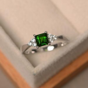 Shop Diopside Rings! Diopside ring, square cut gemstone, chrome diopside, sterling silver ring | Natural genuine Diopside rings, simple unique handcrafted gemstone rings. #rings #jewelry #shopping #gift #handmade #fashion #style #affiliate #ad