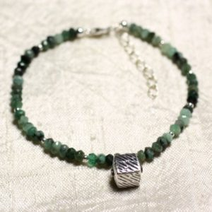 Shop Emerald Bracelets! Bracelet 925 sterling silver and stone – Emerald faceted rondelles 3mm | Natural genuine Emerald bracelets. Buy crystal jewelry, handmade handcrafted artisan jewelry for women.  Unique handmade gift ideas. #jewelry #beadedbracelets #beadedjewelry #gift #shopping #handmadejewelry #fashion #style #product #bracelets #affiliate #ad