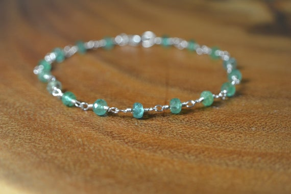 Emerald Bracelet In Sterling Silver, 14k Gold // Wire Wrapped Emerald Bracelet // May Birthstone // 20th, 35th Anniversary Gift // Delicate