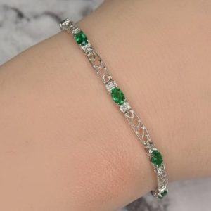 Shop Emerald Bracelets! Oval Emerald And Diamond Bracelet In 14kt Gold | Fine Jewelry | Free Shipping | May Birthstone | Gift For Her | Natural genuine Emerald bracelets. Buy crystal jewelry, handmade handcrafted artisan jewelry for women.  Unique handmade gift ideas. #jewelry #beadedbracelets #beadedjewelry #gift #shopping #handmadejewelry #fashion #style #product #bracelets #affiliate #ad