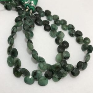 Shop Emerald Faceted Beads! Emerald Faceted Heart 8 to 9mm 9 inches 75 cts/Emerald/faceted heart /Semiprecious Beads/Rare Beads/Stone Beads/Gemstone Beads/Faceted Beads | Natural genuine faceted Emerald beads for beading and jewelry making.  #jewelry #beads #beadedjewelry #diyjewelry #jewelrymaking #beadstore #beading #affiliate #ad