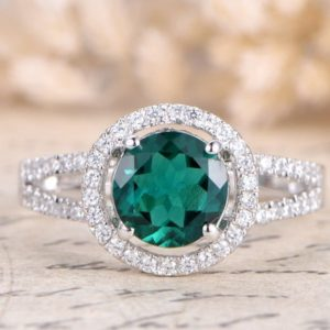 Emerald Engagement Ring 14K White Gold Ring Diamond Band 7mm Round Emerald Ring Split Shank Band Art Deco Ring Promise Ring, Rings For Women | Natural genuine Array rings, simple unique alternative gemstone engagement rings. #rings #jewelry #bridal #wedding #jewelryaccessories #engagementrings #weddingideas #affiliate #ad