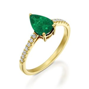 Emerald Engagement Ring -Art deco Emerald Engagement Ring -Gold Ring-Anniversary present-Promised ring-Emerald ring-Pear shaped emerald | Natural genuine Gemstone rings, simple unique alternative gemstone engagement rings. #rings #jewelry #bridal #wedding #jewelryaccessories #engagementrings #weddingideas #affiliate #ad