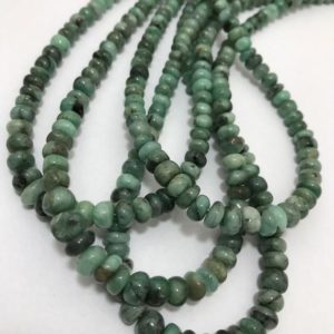 "Shop Emerald Rondelle Beads! Emerald Plain Smooth Rondelle 6 to 7.5 mm 16""/Gemstone Beads/Semi Precious Beads/Rare Beads/Plain Smooth Rondelle Beads/Emerald Beads 