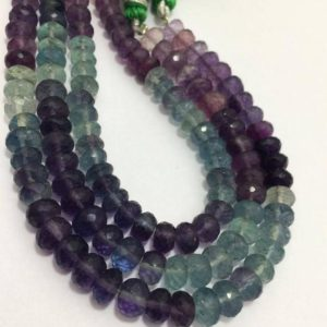 "Shop Fluorite Faceted Beads! 77 Cts Multi Fluorite Faceted Rondelle 6.5 to 7 mm 8""/Gemstone Beads/Fluorite Beads/Faceted Beads/Rondelle Beads/Fluorite Rondelle 