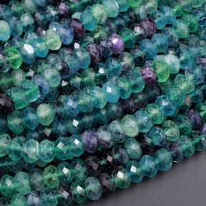 "AA Natural Rainbow Fluorite Faceted Rondelle 6mm 8mm 10mm Beads Stunning Intense Purple Blue Green Gemstone 15.5"" Strand 
