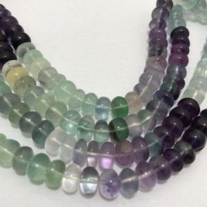 "Shop Fluorite Rondelle Beads! 280 Carats Multi Fluorite Plain Rondelle 8 to 8.5 mm 18""/Gemstone Beads/Semi Precious Beads/Wholesale Beads/Rare Beads 