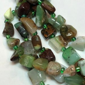 "Shop Chrysoprase Chip & Nugget Beads! Free form nugget Chrysoprase gemstone beads. Full 15"" strand of 8-10mm mixed green beads, about 38 beads per strand. 