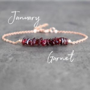 Raw Garnet Bracelet, Red Garnet Chip Bracelet, Natural Garnet Crystal Bracelet, Sterling Silver, Gold Filled Birthstone Bracelet | Natural genuine Garnet bracelets. Buy crystal jewelry, handmade handcrafted artisan jewelry for women.  Unique handmade gift ideas. #jewelry #beadedbracelets #beadedjewelry #gift #shopping #handmadejewelry #fashion #style #product #bracelets #affiliate #ad