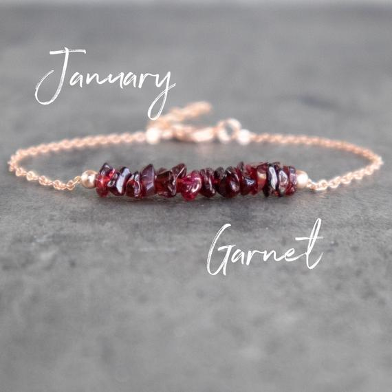 Raw Garnet Bracelet, Red Garnet Chip Bracelet, Natural Garnet Crystal Bracelet, Sterling Silver, Gold Filled Birthstone Bracelet