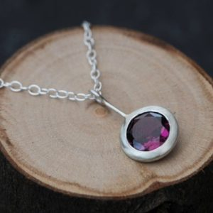 Shop Garnet Jewelry! Rhodolite Garnet Necklace in Silver – Deep Pink Gemstone Pendant Necklace | Natural genuine Garnet jewelry. Buy crystal jewelry, handmade handcrafted artisan jewelry for women.  Unique handmade gift ideas. #jewelry #beadedjewelry #beadedjewelry #gift #shopping #handmadejewelry #fashion #style #product #jewelry #affiliate #ad