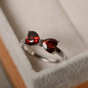 Shop Garnet Rings! January birthstone, natural garnet ring, red gemstone, sterling sivler, promise ring | Natural genuine Garnet rings, simple unique handcrafted gemstone rings. #rings #jewelry #shopping #gift #handmade #fashion #style #affiliate #ad