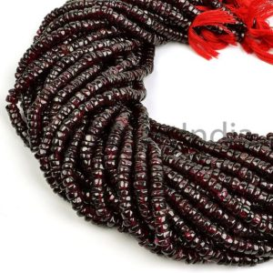 Shop Garnet Rondelle Beads! Garnet Plain Rondelle Shape Natural Beads, Natural Garnet Beads, Smooth Rondelle Shape Garnet Beads, Garnet Beads, Wholesale Garnet Beads | Natural genuine rondelle Garnet beads for beading and jewelry making.  #jewelry #beads #beadedjewelry #diyjewelry #jewelrymaking #beadstore #beading #affiliate #ad
