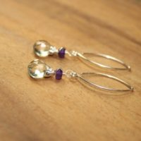 Green Amethyst And Amethyst Earrings, Amethyst Stones, Wire Wrap, February Birthstone, Gemstone Jewelry | Natural genuine Gemstone jewelry. Buy crystal jewelry, handmade handcrafted artisan jewelry for women.  Unique handmade gift ideas. #jewelry #beadedjewelry #beadedjewelry #gift #shopping #handmadejewelry #fashion #style #product #jewelry #affiliate #ad
