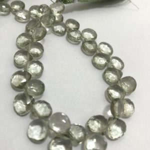 Shop Green Amethyst Beads! Green Amethyst Faceted Heart 8 to 9 mm 8 inches 95 cts /Green Amethyst/ Faceted Heart/Semiprecious Beads/Rare Beads/Natural Beads/stone bead | Natural genuine faceted Green Amethyst beads for beading and jewelry making.  #jewelry #beads #beadedjewelry #diyjewelry #jewelrymaking #beadstore #beading #affiliate #ad