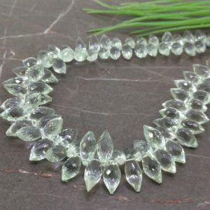 Shop Green Amethyst Beads! Natural Green Amethyst 11-15.5mm Briolette Rice Shape Gemstone Beads / Approx. 103 Pieces on 13 Inch Long Strand / JBC-ET-157407 | Natural genuine other-shape Green Amethyst beads for beading and jewelry making.  #jewelry #beads #beadedjewelry #diyjewelry #jewelrymaking #beadstore #beading #affiliate #ad