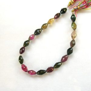 "Shop Green Tourmaline Beads! Pink, yellow, green tourmaline faceted bicone beads AA+ 7.5-8mm 8"" strand 