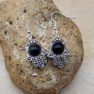 Shop Obsidian Earrings! Hamsa rainbow Obsidian earrings. Reiki jewelry uk. Protection symbol. 8mm stone | Natural genuine Obsidian earrings. Buy crystal jewelry, handmade handcrafted artisan jewelry for women.  Unique handmade gift ideas. #jewelry #beadedearrings #beadedjewelry #gift #shopping #handmadejewelry #fashion #style #product #earrings #affiliate #ad