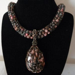 Shop Rhodonite Necklaces! Hand Knitted Rhodonite Necklace and Earrings Set | Natural genuine Rhodonite necklaces. Buy crystal jewelry, handmade handcrafted artisan jewelry for women.  Unique handmade gift ideas. #jewelry #beadednecklaces #beadedjewelry #gift #shopping #handmadejewelry #fashion #style #product #necklaces #affiliate #ad
