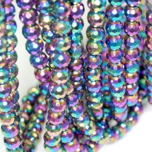 Shop Hematite Faceted Beads! 10mm Titanium Rainbow Hematite Gemstone Rainbow Faceted Round Loose Beads 16 inch Full Strand (90189032-B62) | Natural genuine faceted Hematite beads for beading and jewelry making.  #jewelry #beads #beadedjewelry #diyjewelry #jewelrymaking #beadstore #beading #affiliate #ad