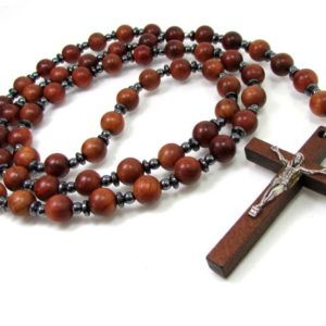 Shop Hematite Necklaces! Wood and Hematite Handmade Rosary,  Mens Rosary, Women Rosary, Mens Cross Necklace, Wood Rosary, Wood Necklace + Gift Box | Natural genuine Hematite necklaces. Buy handcrafted artisan men's jewelry, gifts for men.  Unique handmade mens fashion accessories. #jewelry #beadednecklaces #beadedjewelry #shopping #gift #handmadejewelry #necklaces #affiliate #ad