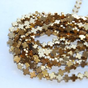 "Gold Plated Hematite Cross Beads 8x8mm 10x10mm 15.5"" Strand 