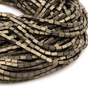 "Shop Hematite Bead Shapes! Titanium Hematite Rectangle Beads 4x2mm 5x3mm Matte Champagne Color Soft Gold Tone 15.5"" Strand 