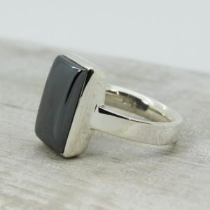 Shop Hematite Rings! Quality Hematite Stone Ring Unisex Rectangular Simple And Stunning Sterling Silver Hematite Stone Ring Made Of Natural Hematite Stone Cab | Natural genuine Hematite rings, simple unique handcrafted gemstone rings. #rings #jewelry #shopping #gift #handmade #fashion #style #affiliate #ad