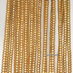 Shop Hematite Rondelle Beads! 3x2mm Gold Hematite Gemstone Gold Rondelle Heishi 3x2mm Loose Beads 16 inch Full Strand (90188978-149A) | Natural genuine rondelle Hematite beads for beading and jewelry making.  #jewelry #beads #beadedjewelry #diyjewelry #jewelrymaking #beadstore #beading #affiliate #ad