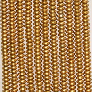 Shop Hematite Rondelle Beads! 4x2mm Gold Hematite Gemstone Gold Rondelle Heishi 4x2mm Loose Beads 16 inch Full Strand (90188982-149a) | Natural genuine rondelle Hematite beads for beading and jewelry making.  #jewelry #beads #beadedjewelry #diyjewelry #jewelrymaking #beadstore #beading #affiliate #ad
