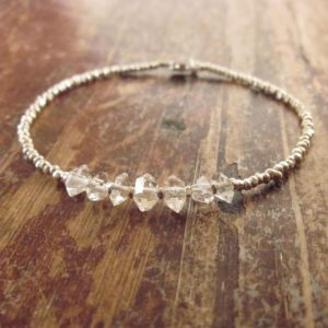 Shop Herkimer Diamond Bracelets! Herkimer Diamond Bracelet Herkimer Diamond Bracelets Raw Stone Beaded Bracelets Womens Gift Raw Crystal Jewelry Silver Bead Bracelet Quartz | Natural genuine Herkimer Diamond bracelets. Buy crystal jewelry, handmade handcrafted artisan jewelry for women.  Unique handmade gift ideas. #jewelry #beadedbracelets #beadedjewelry #gift #shopping #handmadejewelry #fashion #style #product #bracelets #affiliate #ad