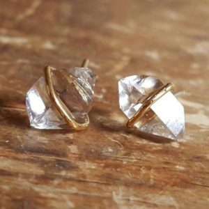 Herkimer Diamond Stud Earrings, Herkimer Diamond Studs, Herkimer Diamond Earrings, Raw Diamond Earrings, Raw Crystal Earrings, 14k Gold Stud | Natural genuine Herkimer Diamond earrings. Buy crystal jewelry, handmade handcrafted artisan jewelry for women.  Unique handmade gift ideas. #jewelry #beadedearrings #beadedjewelry #gift #shopping #handmadejewelry #fashion #style #product #earrings #affiliate #ad
