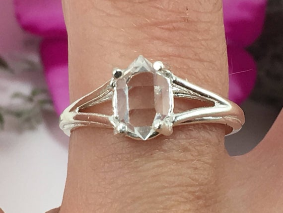 Herkimer Diamond Ring, Sterling Silver 6x8 Mm Raw Ny Quartz Crystal Jewelry A + Grade Genuine Natural Herkimer Boho Solitaire