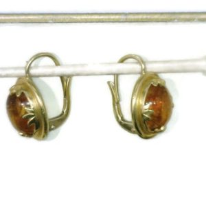 22 Karat Gold Dangle Earrings Oval Honey Amber Cabochon Bezel Set Celebrity Owner Kathy Bates 3/4 Inch Long | Natural genuine Amber earrings. Buy crystal jewelry, handmade handcrafted artisan jewelry for women.  Unique handmade gift ideas. #jewelry #beadedearrings #beadedjewelry #gift #shopping #handmadejewelry #fashion #style #product #earrings #affiliate #ad